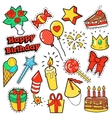 Fashion Badges Patches Stickers Birthday Theme vector image