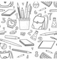 cartoon doodles hand drawn school seamless vector image