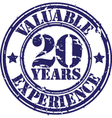 Valuable 20 years of experience rubber stamp vect vector image