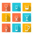 flat alcohol glasses icons vector image