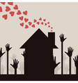 from a house pipe hearts take off a vector image vector image