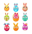 Egg Shaped Easter Bunny In Different Designs vector image
