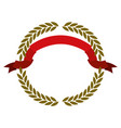 golden olive branches forming a circle with red vector image