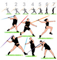 javelin silhouettes athletes set vector image