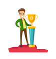 man standing on the pedestal with business award vector image