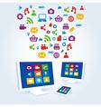 media social icon copmutre desktop table pc vector image