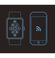 Outline concept design with phone and smart watch vector image