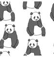 Seamless pattern with hand drawn pandas vector image