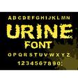 Urine font Yellow liquid ABC piss typography vector image