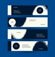horizontal creative flyers set grunge dark blue vector image