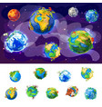 cartoon earth globes concept vector image vector image