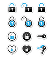 Padlock key account icons set vector image
