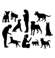 Dog training silhouettes vector image