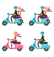 Couple Man Woman Riding Scooter vector image