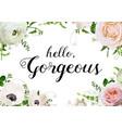 floral design horizontal card design rose anemone vector image vector image