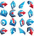 3d blue abstract shapes different business icons vector image vector image