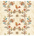 Seamless floral pattern with birds and flowers vector image
