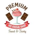 Ice cream shop retro symbol with strawberry gelato vector image
