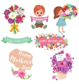 Baby girl and boy with bouquet flowers Happy vector image