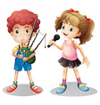 Boy playing bagpipe and girl singing vector image