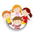 Boys and girls in round badge vector image