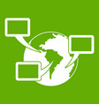 world planet and speech bubbles icon green vector image