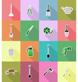 garden tools flat icons 18 vector image