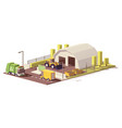 low poly waste transfer station vector image vector image