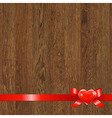 Wooden Panel With Red Ribbon vector image