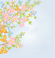 Twig shrub whit spring flowers background spring vector image