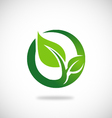 green leaf round ecology logo vector image