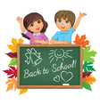 School boards and children vector image