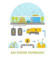 cartoon gas station technology set vector image
