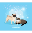 Cat and Dog Friends vector image