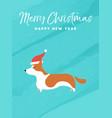 christmas and new year holiday corgi dog card vector image