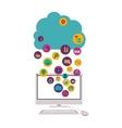 Cloud computing and media icon set design vector image