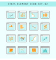 Line Flat Icons Statistic Elements Set 02 vector image