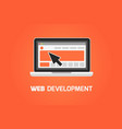 web development laptop icon create website vector image