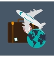 suitcase and travel related icons vector image vector image