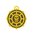 Human skull aztec medallion icon flat style vector image