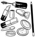 doodle cosmetics makeup vector image vector image