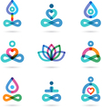Collection of yoga icons elements and symbols vector image