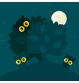 owls hide behind a tree at night a vector image vector image
