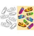Coloring Book Of Set Dfferent Shoes vector image