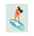 hand drawn abstract cute summer time beach vector image