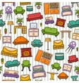 Pattern with various home interior vector image