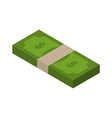 Stack of money isometric tutu of dollars on white vector image