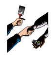 Hands Barter Paint Brush Cell Phone vector image vector image