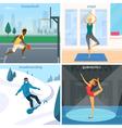 Sport People 2x2 Design Concept vector image