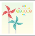 Hello spring background with colorful pinwheels 2 vector image